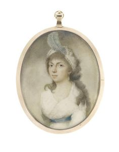 Bonhams : Fine Portrait Miniatures George Francis Joseph, ARA (Irish, 1764-1846) A Young Lady called, Sophia, wearing white dress with blue sash and teardrop pearl earring, her hair softly curled and powdered beneath a white bandeau finished with pearl strands and a blue plume