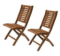 Folding Eucalyptus Teak Side Chair, 2 pack