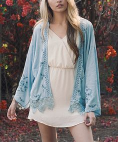 Look what I found on #zulily! Leto Collection Shell Blue Embroidered Kimono by Leto Collection #zulilyfinds