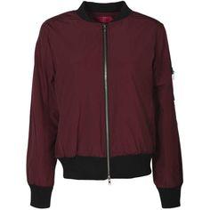 Clara Ma1 Bomber Jacket (1.355 UYU) ❤ liked on Polyvore featuring outerwear, jackets, bomber jacket, blouson jacket, bomber style jacket, red jacket and flight jacket