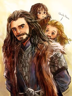 Uncle Thorin and little nephew by *Kadeart0 on deviantART- This kills my feelings when I think about what happens to the three of them! *Sobs*