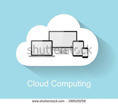 Cloud computing concept with big flat cloud, tablet PC, notebook, smart phone and computer with long shadow