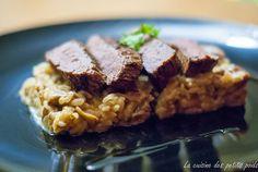 Filet de bœuf grillé, riz aux cèpes et à l'huile de truffe