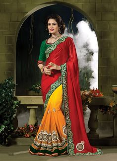 Renowned Embroidered Work Georgette Classic Designer Saree
