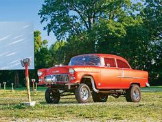 Old 1955 Chevy gasser at a drive-in...