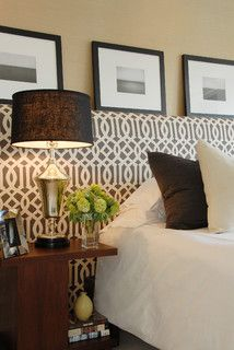 An exquisite quatrefoil headboard - modern geometric shapes that invoke ancient patterns from North Africa and Arabia.