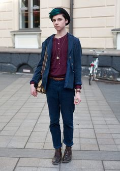 "Mikko, 17    ""I'm wearing H trousers with second hand. My friends say I always wear bright colours. Lookbook.nu inspires me. My must-have this spring: my father's old camo jacket which I just found."""