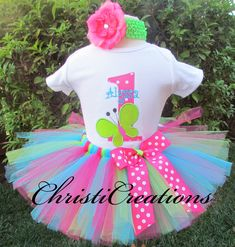 Baby Girl 1st Birthday Tutu Outfit--Birthday Party--Personalized--Butterfly by ChristiCreations on Etsy