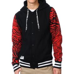 trukfit jacket – Trukfit Zebra Print Red X Black Hooded Varsity Jacket At Zumiez : Pdp