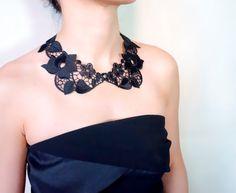 SALE black lace peter pan collar / bib necklace / by LaceFancy