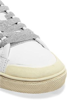 Saint Laurent - Court Classic Glitter-trimmed Leather Sneakers - White - IT40.5
