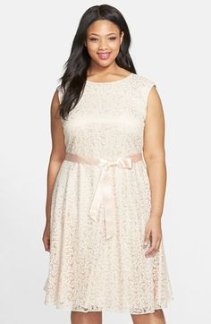 Tahari Flocked Lace Fit & Flare Dress (Plus Size) available at #Nordstrom