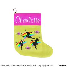 DANCER DREAMS PERSONALIZED CHRISTMAS STOCKING LARGE CHRISTMAS STOCKING