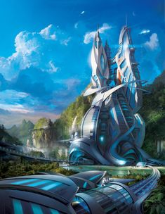 A piece I neglected to post last year. This was done for Advanced Photoshop Magazine Issue The goal was to design a futuristic & modern city located in a tropical setting. I enjoyed going into detail in the city and seeing the end result printed. Space Fantasy, Fantasy City, Fantasy Places, Fantasy World, Fantasy Artwork, Cyberpunk City, Futuristic City, Futuristic Architecture, Fantasy Art Landscapes