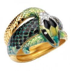 Diamond, Gold and Enamel Ring by Masriera