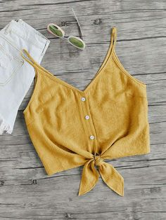 To find out about the Button Placket Knot Front Cami Top at SHEIN, part of our latest Tank Tops & Camis ready to shop online today! Teen Fashion, Fashion News, Fashion Outfits, Womens Fashion, Fashion Trends, Shirts & Tops, Cami Tops, Women's Tops, Trendy Outfits