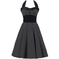 Audrey Hepburn Swing Halter Dress 50s Vintage Polka Dot Printed... (190 BRL) ❤ liked on Polyvore featuring dresses, black sleeveless dress, halter dress, black dress, day dresses и party dresses