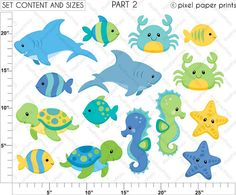 Sea animals for boys Clipart and digital paper set