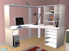 White Willow Corner Desk part of the White Willow Bedroom Set by ogula. Includes the added extra objects e. frames, cds etc. Found in TSR Category 'Desks' The Sims 2, Sims Four, Sims Cc, Sims 4 Mods Clothes, Sims 4 Clothing, Diy L Shaped Desk, Ikea Linnmon, Muebles Sims 4 Cc, Sims 4 Children