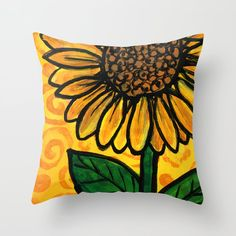 Sunflower Morning Throw Pillow by claudineintner Art Decor, Colorful, Throw Pillows, Painting, Toss Pillows, Cushions, Painting Art, Decorative Pillows, Paintings
