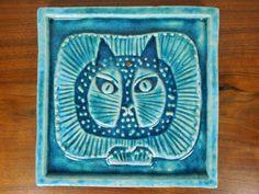 Lisa Larson Gustavsberg Studio Pottery Tile Danish Cat NR