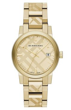 Burberry+Check+Stamped+Bracelet+Watch,+34mm+available+at+#Nordstrom