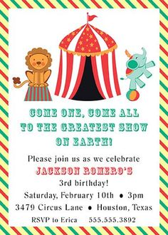 Circus Theme Party Invitation