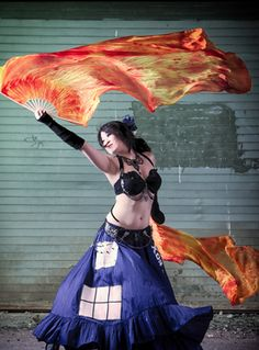 TARDIS Bellydance Costume totally crazy but awesome I want to see the dance that goes with it.