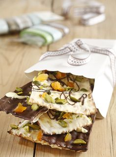Chocolate, Pistachio and Dried Apricot Covered Matza