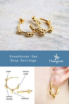 Chemistry earrings adorned with four of the major greenhouse gases: water, carbon dioxide, methane and nitrous oxide. Shown in gold plated brass and available in other precious metals. Chemistry Art, Science Jewelry, Greenhouse Gases, Rose Gold Plates, Precious Metals, Jewelry Design, Bronze, Brass, Sterling Silver