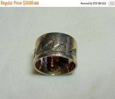 ON SALE Sterling Wave Ring Native American by GingersLittleGems
