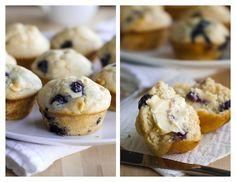 white chocolate blueberry muffins with greek yogurt