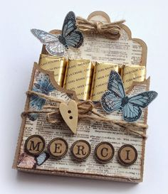 Made by Jolanda: Merci Homemade Gifts, Diy Gifts, Merci Chocolate, Birthday Party Games For Kids, Pioneer Gifts, Paper Gift Bags, Fancy Fold Cards, Treat Holder, Original Gifts
