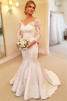 Off-shoulder Satin Mermaid Lace Buttons Winter Wedding Dress