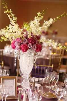 Pink Floral Centerpiece via Style Me Pretty