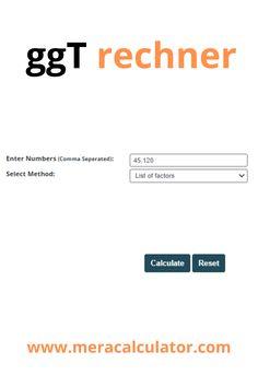 Geben Sie bis zu 10 Zahlen ein berechnen Sie den größter gemeinsamer teiler (ggT rechner). #onlinecalculaotr #mathcalculator #meracalculator #math #gcfcalculator #hcf #CalculatorInOtherLanguages #maths Online Calculator, Languages, Math, Calculator, Divider, Numbers, Idioms, Math Resources, Mathematics