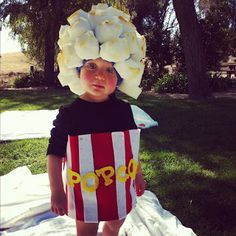 Popcorn Halloween Costume - with multiple kids, one could be a fountain soda and another glasses to stick with the movie theme! Cute Costumes For Kids, Kids Witch Costume, Best Halloween Costumes Ever, Cool Costumes, Halloween Kids, Halloween Crafts, Halloween Games, Popcorn Costume, Homemade Costumes