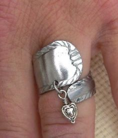 Heart Charmed Spoon Ring