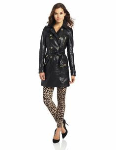 Juicy Couture Women's Sienna Coated Trench, Pitch Black, X-Small $358.00 #JuicyCouture #Jackets #Blazers #juicy