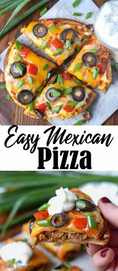 This Easy Mexican pizza recipe is layered with crispy flour tortilla, refried beans, meat, sauce and topped with all your favorite toppings. Pizza Recipes, Meat Recipes, Mexican Food Recipes, Cooking Recipes, Sausage Recipes, Crockpot Recipes, Recipies, Mexican Pizza, Mexican Dishes