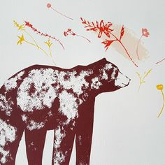 "Hand printed from a lovely bear drawing in autumnal colours. Called a ""Late Bear"" as the drawing was waiting to be printed for a while! Free UK postage and packaging. Bear Drawing, Watercolor Paper, Screen Printing, Moose Art, Colours, Drawings, Prints, Animals, Screen Printing Press"