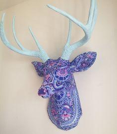 Blue Paisley Deer Head Wall Mount Faux by BananaTreeStudios