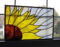 Vidrio amarillo girasol manchado vidrio por StainedGlassYourWay