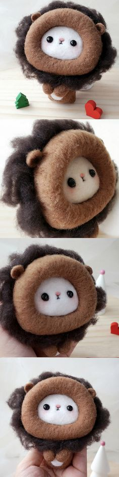 Handmade needle felted felting project cute animal project lion felt doll