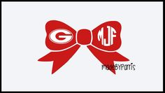 Georgia Bulldogs Monogram Bow Decal, Georgia Decal, Bow Decal, Monogram Decal, Car Decal, Yeti Decal, Personalized Decal, Georgia Football by MadeByParris on Etsy
