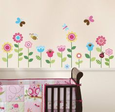 Nursery Wall Decals: Garden Flowers Baby Nursery Peel & Stick Wall Sticker Decals by Cherry Creek - Wall Decals Quotes. ............ Get Wall Decals at Amazon from Wall Decals Quotes Store