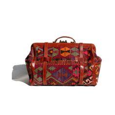 kilim &leather turkish carpet bag by myfavoritevintage on Etsy, $425.00