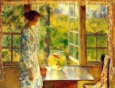 Goldfish in Painting,Frederick Childe Hassam, Bowl of Goldfish, 1912