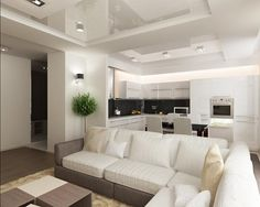 красивый дизайн кухни совмещенной с гостинной - Поиск в Google