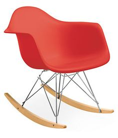 Eames® Molded Plastic Armchair with Rocker Base - Nursery - Kids - Room & Board Eames Rocker, Eames Rocking Chair, Modern Classic, Mid-century Modern, Timeless Classic, Red Rocker, Room To Grow, Plastic Molds, Take A Seat